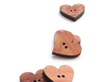 Wood Buttons - Six Cedar Heart Buttons Laser Cut from Sustainable Harvest Wisconsin Wood . Timber Green Woods