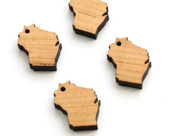 State of Wisconsin Minis (with or without holes) -  Wood Charms by Timber Green Woods - Made in the USA - Cherry Wood.