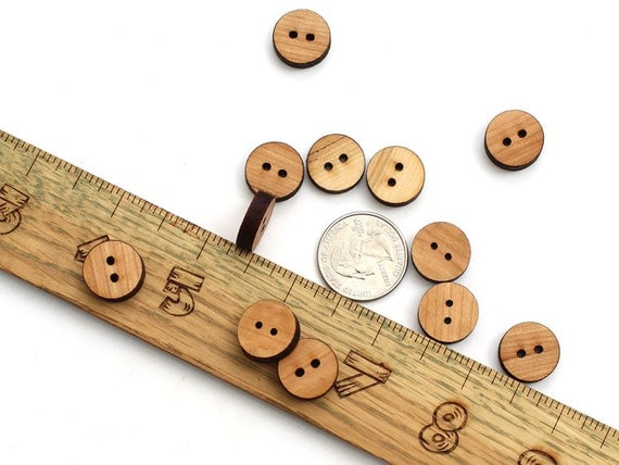 Black Cherry Wood Mini Buttons . Laser Cut Itsies . Timber Green Woods - Sustainable Forestry Products