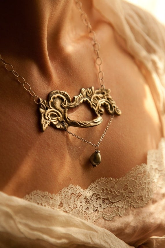 Ornate Antique Bronze Handle Necklace with Sterling Silver Chain and Fresh Water Pearl
