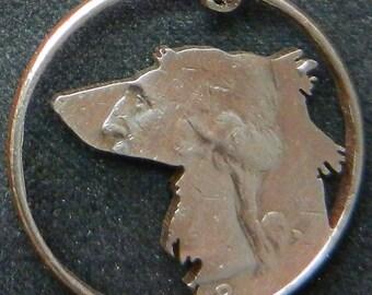 Saluki Dog Hand Cut Coin Jewelry