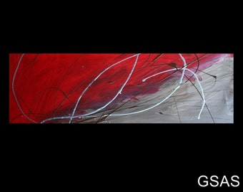 1 ABSTRACT CANVAS PAINTING  red brown silver