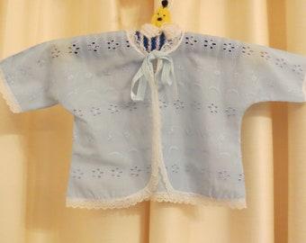 SALE Vintage Handmade 50s 60s Baby Blue Newborn Jacket