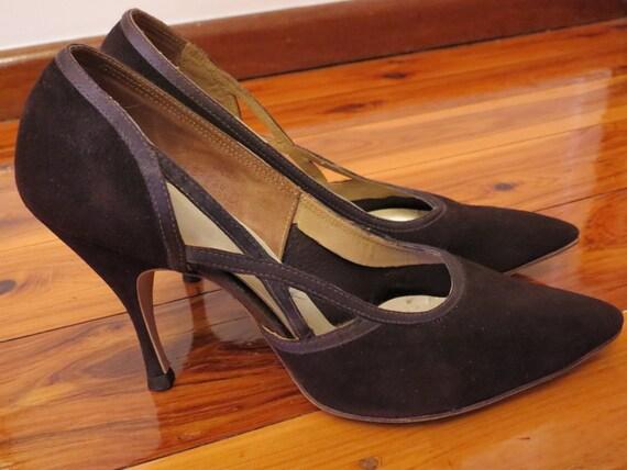 Vintage 1950s Mandarins Leather Cut Out Stiletto Pump Heels