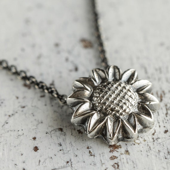 Sunflower Fine Silver Pendant, Ready to Ship