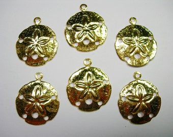 Gold Plated Sand Dollar Charms Earring Findings Drops - 6