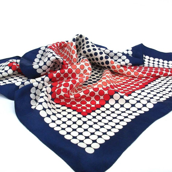 Dizzy Spots in Nautical Colours - Printed, Vintage Scarf