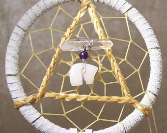 SERENITY BEAR - 3 Inch Dreamcatcher in White and Purple by Feathered Dreams