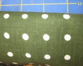 Cotton Fabric Polka Dots - Green base and white polka dots - sold by the half yard - 44 INCHES WIDE