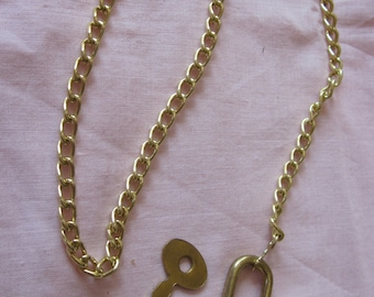 Lock key Necklace  - Gold Plated - Key and Lock work - Chain is 15 inches long