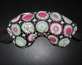 Mini Zen Flowers Eye Mask, Pink Dimpledot material with hearts on facialside, for sleeping, relaxing or recovering.