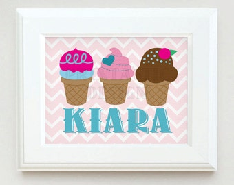 ICE CREAM Personalized Printable Nursery Art