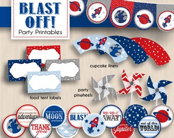 BLAST OFF Baby Shower Printable Package in Navy and Red- Instant Download