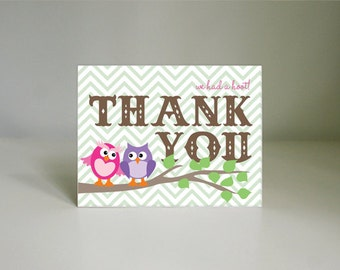 OWL Thank You Card in Purple & Pink- Instant Printable Download