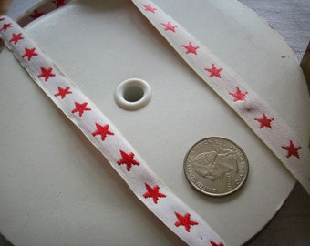 "navy or red stars on white ground 1/2"" trim vintage"