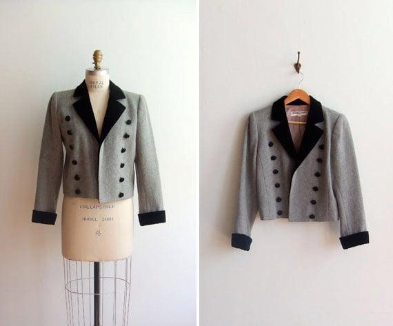 Vintage 1980s YSL double breasted wool blazer jacket