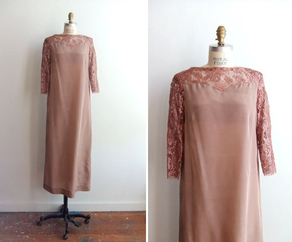 SALE/////Vintage 1960s dusty rose maxi dress with lace shoulders and sleeves