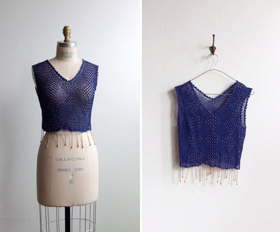 FINAL SALE / vintage 1980s royal blue crochet tank with beading