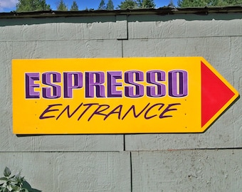Large Espresso Coffee Sign - Handpainted on Wood