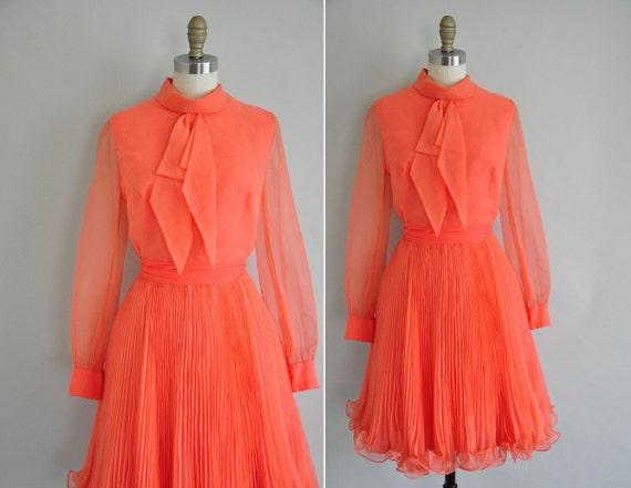 vintage 1960s pink dress / 60s designer pink frilly dress / Dancing Flamingo
