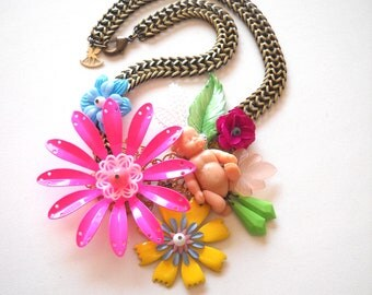 Vintage Collage Flower and Baby Statement Necklace in Hot Pink
