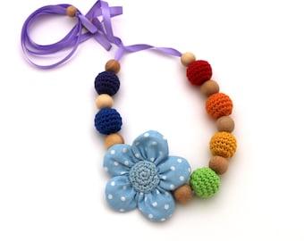 Nursing Necklace Rainbow Teething Necklace
