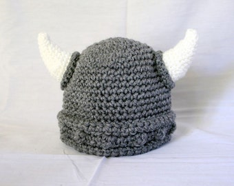 Viking baby hat 3-6 month gray white boy beanie photography prop cap horns braided Norse costume accessory infant grey soft helmet