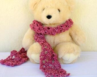 Pink crochet scarf lacy soft neckwarmer long women winter fashion neckwear handmade flecked yarn