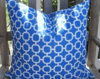 SALE - Outdoor Pillow :Royal Blue Lattice Indoor Outdoor 18 X 18 inch Accent Throw Pillow Cover