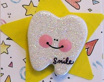 Smile Tooth Pin Brooch Polymer Clay Jewelry