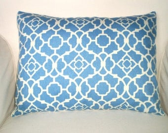 Blue Lumbar Pillow Case, Decorative Pillows, Throw Pillow, Cushion Cover, Blue on Cream, Lovely Lattice by Waverly 12 x 16 or 12 x 18
