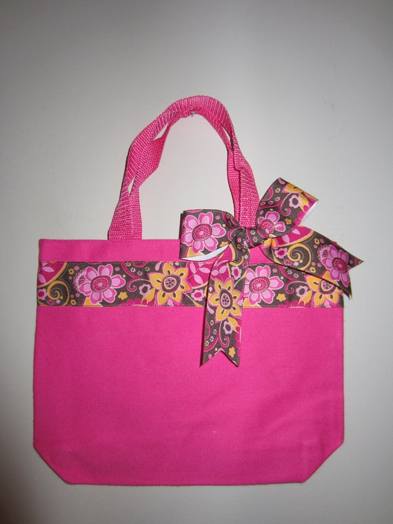 Pink & Brown Mini Tote-Ready to ship- Just add the name