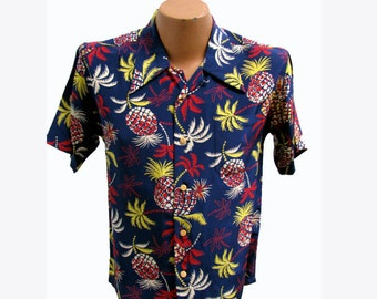 Vintage Hawaiian Shirt Mens Tropical Palm Trees and Pineapples with Coconut Buttons Fits Mns US Size Medium