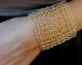 Simple Wide Gold Cuff Bracelet Sexy Metallic Wire Mesh Gold Wire Arm Cuff Hand Knit Lace Bracelet Minimal Chic Jewelry