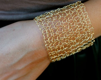 Simple Wide Gold Cuff Bracelet Sexy Metallic Woven Wire Mesh Gold Wire Arm Cuff Hand Knit Lace Bracelet Minimal Modern Jewelry
