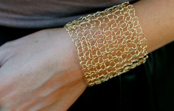 Simple Wide Gold Cuff Bracelet Sexy Metallic Woven Wire Mesh Gold Wire Arm Cuff Hand Knit Lace Bracelet Minimal Modern Jewelry