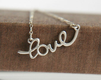 Love Necklace,Love Letters Necklace,Letters Love,Silver Necklace,Sterling Silver,Minimal Necklace,Bridesmaid Gift