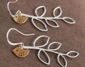 Dangle Earrings,Twig Earrings,Bird Earrings,Silver Earrings,Long Earrings,Mothers Day,Mothers Day Gift