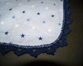 Blue Stars Receiving Blanket with Navy Blue Crochet Edge
