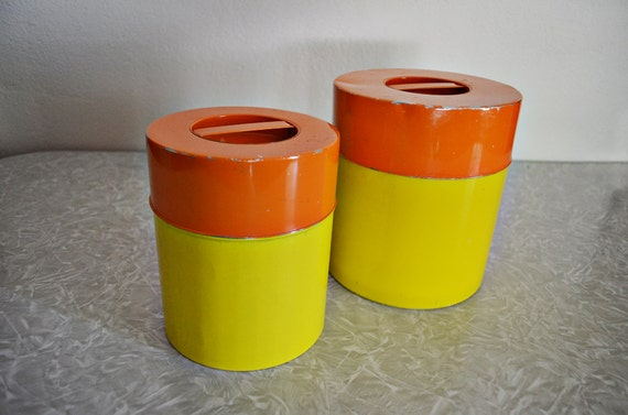 items similar to vintage orange yellow kitchen canister set on etsy