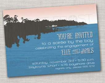 Printable Bay Side Lake Side Bayou Party Invitation -  Rehearsal Dinner, Retirement Celebration, Engagement Party