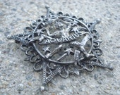 Vintage Aquarius Star Brooch Silver Filigree