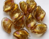 Lampwork Glass Twist Beads /  Gold  / Set of 10