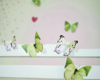 12 3D Wall Butterflies,3D Butterfly Wall Art, Decoration, Pink, Green, 3D Wall Decor,Nursery, Baby, Wedding Decor, Baby Shower, Girls Room
