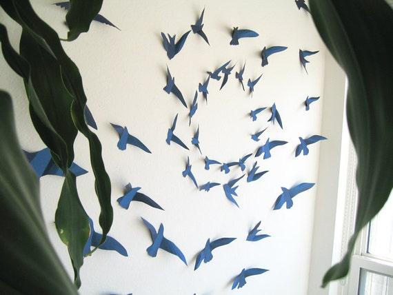 Items Similar To 3d 45 Metallic Navy Blue Paper Birds 3d