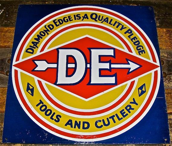 Old DIAMOND-EDGE Knife / Tools & Cutlery Tin Sign / Hardware, Knives, Vintage