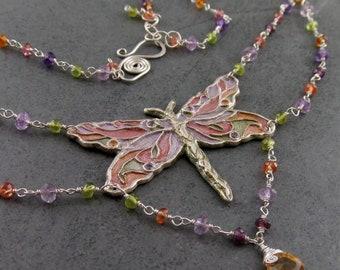 Silver dragonfly necklace-handmade OOAK sapphire, garnet, topaz, vesuvianite, citrine, alexandrite and amethyst necklace