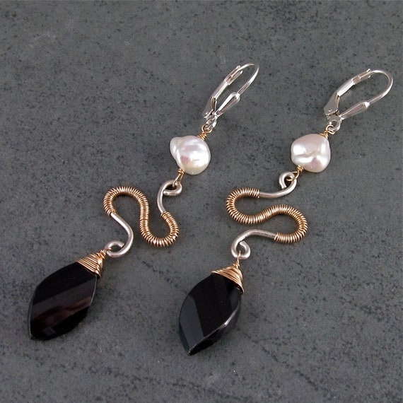 Black garnet earrings, handmade pearl, mixed metal earrings-Madison Ave. OOAK
