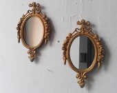Small Matching Wall Mirror Set of Two in Ornate Vintage Dark Gold Frames