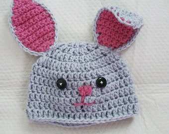 Crochet Infant Baby Bunny Hat Boys and Girls Newborn to 6 months